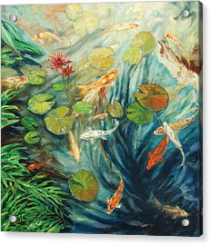 Koi And Palm Acrylic Print by Rick Nederlof