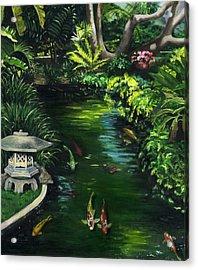 Koi Calm Acrylic Print by Lisa Reinhardt