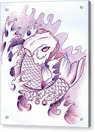 Koi Carp Tattoo Art Acrylic Print by Samuel Whitton