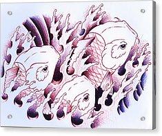 Koi Carps In Water Tattoo Art Acrylic Print