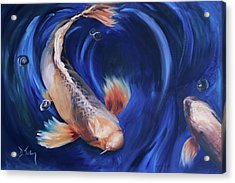 Acrylic Print featuring the painting Koi by Donna Tuten