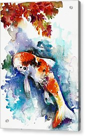 Koi Fish In The Lake Acrylic Print by Tiberiu Soos