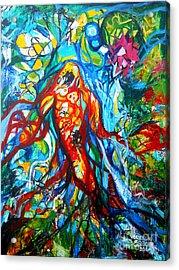 Koi Fish Mermaid Acrylic Print by Genevieve Esson