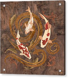 Koi Fish Wood Art Acrylic Print