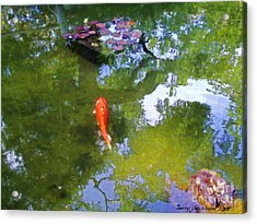 Koi In Reflective Water Garden Acrylic Print by Jerry Grissom