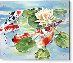 Koi In The Water Lilies Acrylic Print by Ileana Carreno