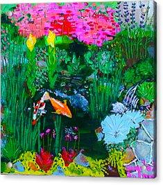 Koi Pond Acrylic Print by Angela Annas