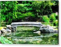 Koi Pond Bridge - Japanese Garden Acrylic Print by Bill Cannon
