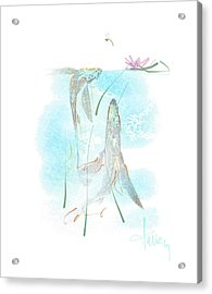 Acrylic Print featuring the mixed media Koi Pond  by Larry Talley