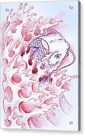 Koi Tattoo Sketch Acrylic Print
