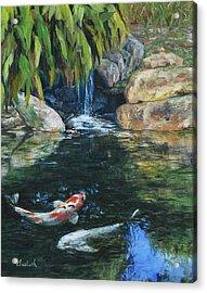 Koi Under The Waterfall Acrylic Print by Beth Maddox