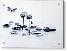 Koi With Waterlilies And Flutterby Acrylic Print
