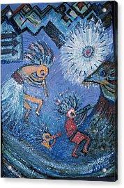 Kokopelli Dancers And Big Bird Acrylic Print by Anne-Elizabeth Whiteway