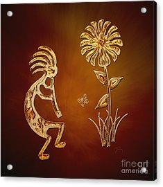 Kokopelli - Flower Serenade Acrylic Print