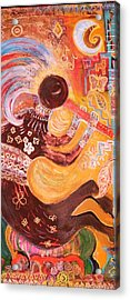 Kokopelli Jazz Acrylic Print by Anne-Elizabeth Whiteway