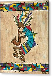 Kokopelli Sax Player Acrylic Print by Susie WEBER