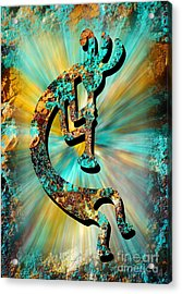 Kokopelli Turquoise And Gold Acrylic Print
