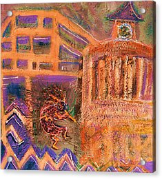 Kokopelli Visits Venue From Antiquity Acrylic Print by Anne-Elizabeth Whiteway