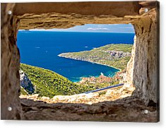 Komiza Bay Aerial View Through Stone Window Acrylic Print