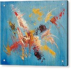 Komposition Auf Blau Acrylic Print by Michael Puya