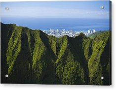 Koolau Mountains And Honolulu Acrylic Print by Dana Edmunds - Printscapes