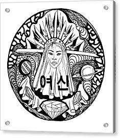 Korean Goddess Black And White Acrylic Print by Kenal Louis