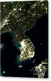Korean Peninsula At Night, Satellite Image Acrylic Print
