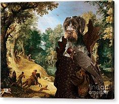 Korthals Pointing Griffon Art Canvas Print - The Hunters And Lady Falconer Acrylic Print
