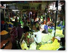 Acrylic Print featuring the photograph Koyambedu Flower Market Stalls by Mike Reid
