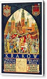 Krakow Poland - Vintage Travel Poster Acrylic Print