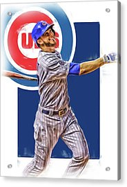 Kris Bryant Chicago Cubs Oil Art Acrylic Print by Joe Hamilton