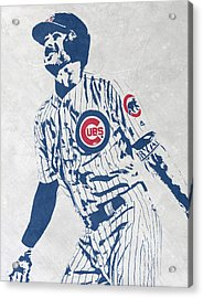 kris bryant CHICAGO CUBS PIXEL ART 1 Acrylic Print by Joe Hamilton