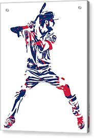 Kris Bryant Chicago Cubs Pixel Art 10 Acrylic Print