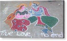 Krishna - Radha Love Acrylic Print by Joni Mazumder