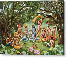 Krishna Eats Lunch With His Friends With No Bordure Acrylic Print by Dominique Amendola