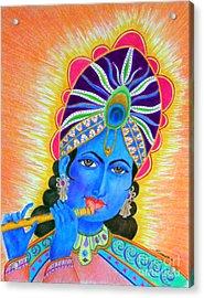 Krishna -- Colorful Portrait Of Hindu God Acrylic Print