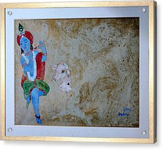 Krishna Acrylic Print by Rooma Mehra