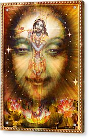 Krishnas Divine Secret  Acrylic Print by Ananda Vdovic