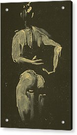 kroki 2014 09 27_4 figure drawing white chalk Marica Ohlsson Acrylic Print