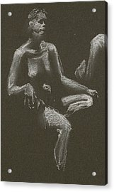 Kroki 2015 04 25 _3 Figure Drawing White Chalk Beskuren Acrylic Print