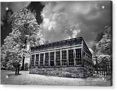 Acrylic Print featuring the photograph Kron Greenhouse Morrow Mountain North Carolina Bw by Dan Carmichael