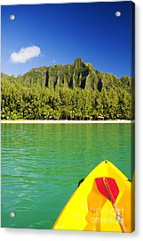 Kualoa Mountains From Kay Acrylic Print by Dana Edmunds - Printscapes