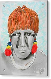 Kuikuro From Brazil -- Portrait Of South American Tribal Man Acrylic Print