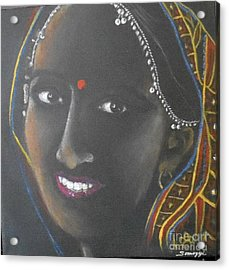 Kumkuma -- Close-up Portrait Of Indian Woman Acrylic Print