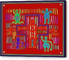 Acrylic Print featuring the digital art Kuna Indian Mola Crucifix by Vagabond Folk Art - Virginia Vivier