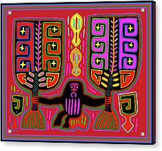 Acrylic Print featuring the digital art Kuna Indian Mola Man With Fans by Vagabond Folk Art - Virginia Vivier