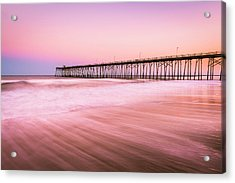Acrylic Print featuring the photograph Kure Beach Fishing Pier At Sunset by Ranjay Mitra