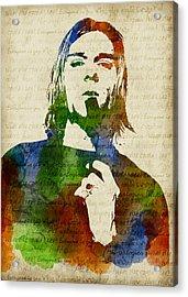 Kurt Cobain Watercolor Acrylic Print by Mihaela Pater