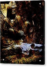 Kwan Yin Meditates Acrylic Print by Ann Tracy