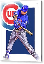 Kyle Schwarber Chicago Cubs Oil Art Acrylic Print by Joe Hamilton
